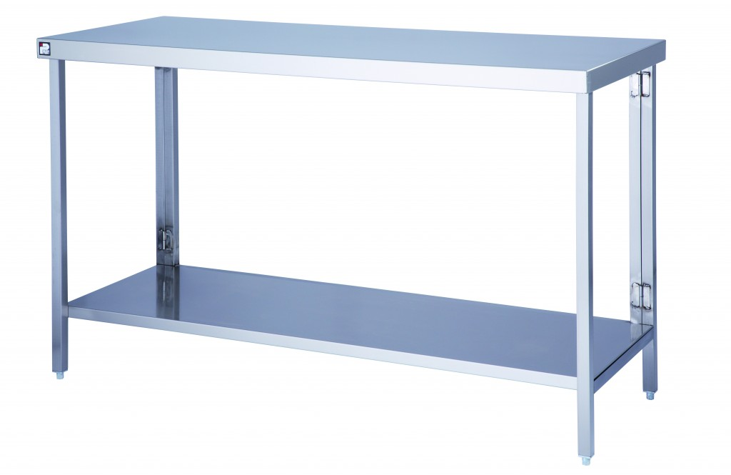 Stainless Steel Flatpack Table with One Under Shelf – FTAB