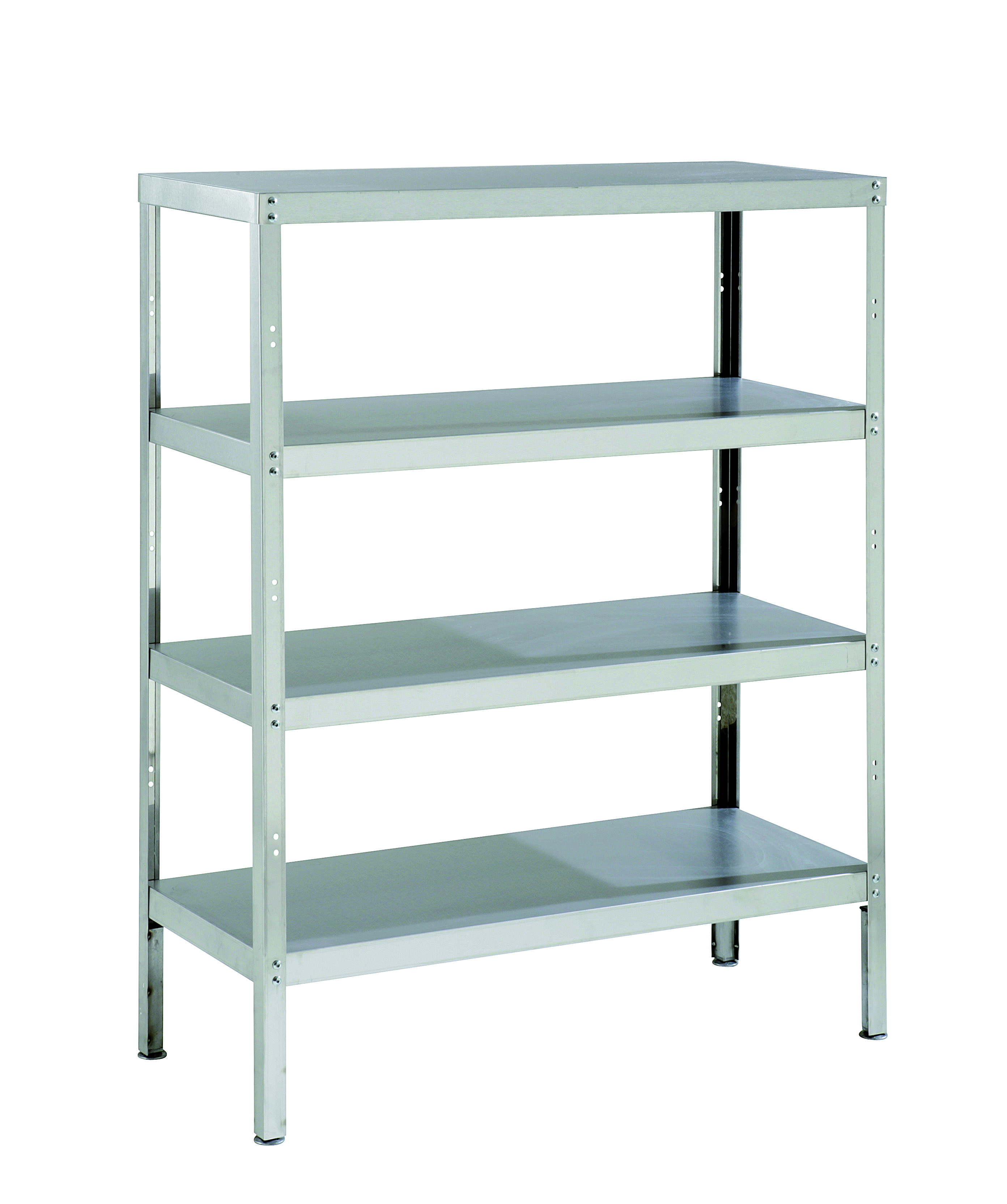 Stainless Steel Storage Rack with 4 Shelves & Adjustable Feet ...